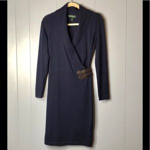 LAUREN RALPH LAUREN NAVY KNIT WRAP DRESS